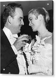 Grace Kelly Toasts With Husband Acrylic Print by Retro Images Archive