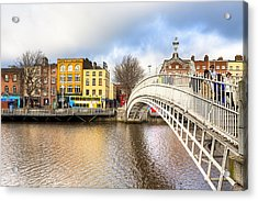 Graceful Ha'penny Bridge Over River Liffey Acrylic Print by Mark E Tisdale