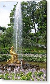 Graden Fountain At Peterhoff Russia Acrylic Print by Linda Phelps