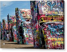 Graffiti At The Cadillac Ranch Amarillo Texas Acrylic Print by Mary Lee Dereske