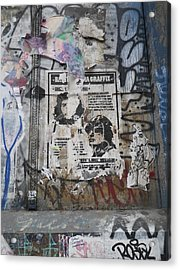 Graffiti In New York City Che Guevara Mussolini  Acrylic Print