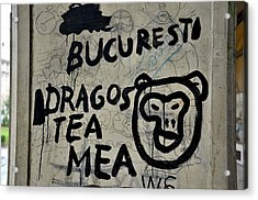 Acrylic Print featuring the photograph Graffiti On Street From Bucharest Romania by Imran Ahmed