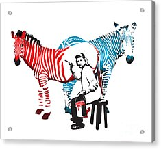 Acrylic Print featuring the digital art Graffiti Print Of Rembrandt Painting Stripes Zebra Painter by Sassan Filsoof