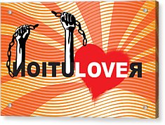 Graffiti Style Illustration Slogan Love Revolution Acrylic Print