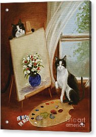 Graham's Cats The Artists Acrylic Print by Stella Violano