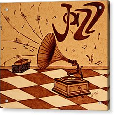 Gramophone Playing Jazz Music Painting With Coffee Acrylic Print by Georgeta  Blanaru