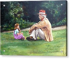 Grampa's Bible Stories Acrylic Print by Carole Powell