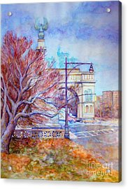 Grand Army Plaza With Lamppost And Tree Acrylic Print