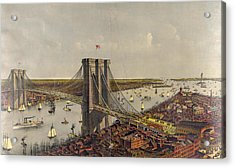 Grand Birds Eye View Of The Great East River Suspension Acrylic Print