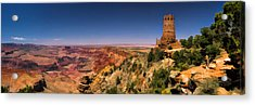 Grand Canyon Desert View Watchtower Panorama Acrylic Print by Christopher Arndt