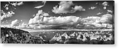 Grand Canyon Mather Point In Black  And White Acrylic Print by Lisa  Spencer