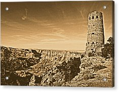 Grand Canyon National Park Mary Colter Designed Desert View Watchtower Rustic Acrylic Print by Shawn O'Brien