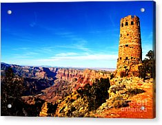 Grand Canyon National Park Mary Colter Designed Desert View Watchtower Vivid Acrylic Print by Shawn O'Brien