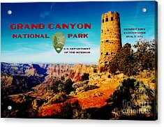 Grand Canyon National Park Poster Desert View Watchtower Retro Future Acrylic Print by Shawn O'Brien