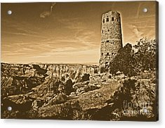 Grand Canyon National Park South Rim Mary Colter Designed Desert View Watchtower Rustic Acrylic Print by Shawn O'Brien