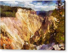 Acrylic Print featuring the painting Grand Canyon Of Yellowstone 2 by Kai Saarto