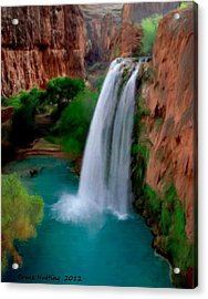 Acrylic Print featuring the painting Grand Canyon Waterfalls by Bruce Nutting