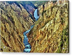 Acrylic Print featuring the photograph Grand Cayon Of The Yellowstone River by Benjamin Yeager