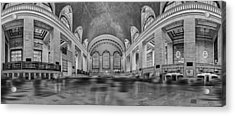 Grand Central Terminal 180 Panorama Bw Acrylic Print by Susan Candelario