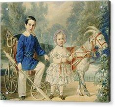 Grand Duke Alexander And Grand Duke Alexey As Children Acrylic Print by Vladimir Ivanovich Hau
