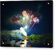 Grand Finale Over The Lake Acrylic Print by Sandi OReilly