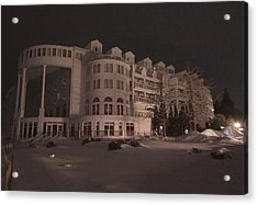 Grand Hotel On A Winter Night Acrylic Print by Keith Stokes