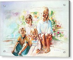 Acrylic Print featuring the painting Grand Kids by Patricia Schneider Mitchell
