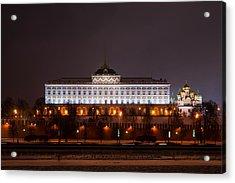 Grand Kremlin Palace At Night Acrylic Print by Alexander Senin