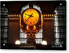 Grand Old Clock At Grand Central Station - Front Acrylic Print