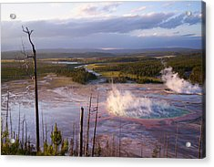 Acrylic Print featuring the photograph Grand Prismatic At Dusk by Jon Emery