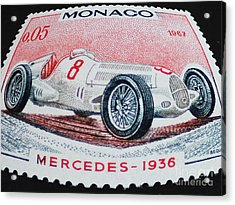 Grand Prix De Monaco 1936 Vintage Postage Stamp Print Acrylic Print