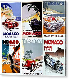 Grand Prix Of Monaco Vintage Poster Collage Acrylic Print by Don Struke