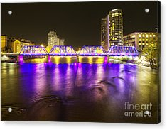 Grand Rapids At Night Acrylic Print by Twenty Two North Photography