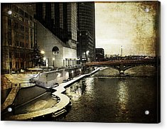 Grand Rapids Grand River Acrylic Print by Evie Carrier