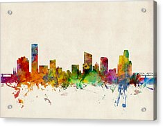 Grand Rapids Michigan Skyline Acrylic Print by Michael Tompsett