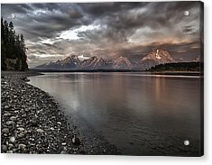 Grand Teton Mountain Range In  Grey And Pink Morning Sunlight Acrylic Print
