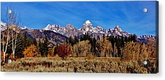Acrylic Print featuring the photograph Grand Teton Panorama by Benjamin Yeager