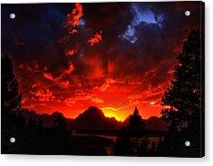 Grand Teton Sunset Acrylic Print by Aidan Moran