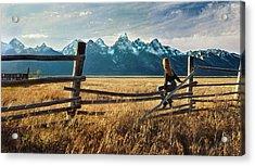 Grand Tetons And Girl On Fence Acrylic Print