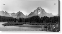 Acrylic Print featuring the photograph Grand Tetons Bw by Ron White