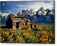 Acrylic Print featuring the photograph Grand Tetons Cabin by John Haldane