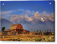 Grand Tetons From Moulton Barn Acrylic Print by Alan Vance Ley