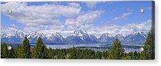 Grand Tetons Over Jackson Lake Panorama 2 Acrylic Print by Brian Harig