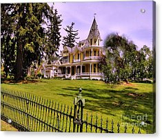Acrylic Print featuring the photograph Grand Yellow Victorian And Gate by Becky Lupe