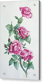 Acrylic Print featuring the painting Grandma Helen's Roses by Katherine Young-Beck