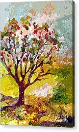 Grandmas Apple Tree Modern Art Acrylic Print by Ginette Callaway