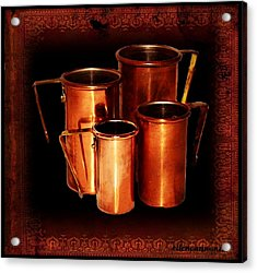 Grandma's Kitchen-copper Measuring Cups Acrylic Print by Ellen Cannon