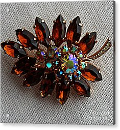 Grandmas Topaz Brooch - Treasured Heirloom Acrylic Print by Barbara Griffin