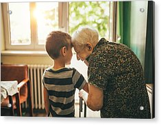 Grandson Visiting His Granny In Nursery Acrylic Print by Supersizer