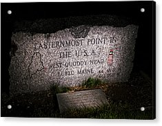 Granite Monument Quoddy Head State Park Acrylic Print by Marty Saccone